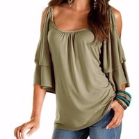Women's Casual Cold Shoulder Army Green Ruffle Butterfly Sleeve Flowy Blouse Top