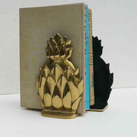 Vintage Pineapple Bookends Brass Hollywood Regency Heavy Solid Brass Mid Century Newport VM Shiny Glam Home Decor