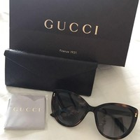 DCCK3SY Genuine Gucci Oversized Cat eye Women's Sunglasses Brand New