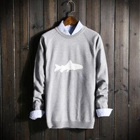 Mens Warm Whale Comfortable Fish Pullover Sweater