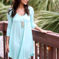 Never Let Go Mint V-Neck Quarter Sleeve Dress
