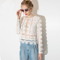 White Sheer Mesh  Fan Style Long Sleeve Lace Embroidered Top