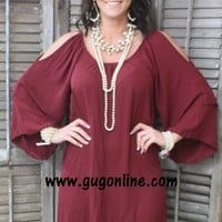 Don't Give Me the Cold Shoulder Dress in Maroon