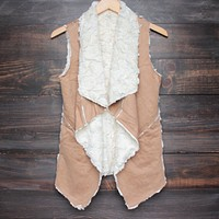 draped faux sherpa vest in tan