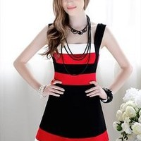 Red, Black and White Block Dress