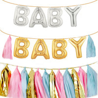 Baby Letter Ballloons | Gold or Silver Foil Letter Balloon | 16 inch Baby Shower Balloons | Tassels