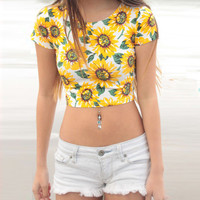 Sun Flower Print Short Sleeve Cropped Top