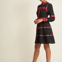 Applique-Outlined Long Sleeve A-Line Dress in Black