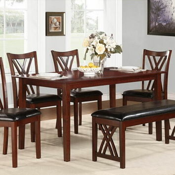 Home Elegance 2459 6 pc brooksville collection warm cherry finish wood dining table set with upholstered seats