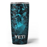 Turquoise and Black Geometric Triangles - Skin Decal Vinyl Wrap Kit compatible with the Yeti Rambler Cooler Tumbler Cups