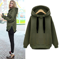 Womens Warm Coat Hoodie Parka Overcoat Long Jacket Zip Hem Sweatshirt Outerwear A_L = 1658514436