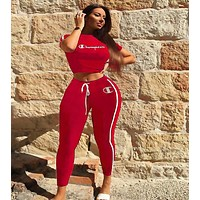 Champion Popular Women Casual Print Shorts Sleeve Crop Top Pants Set Two-Piece Sportswear Red