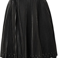 Elie Saab - Studded plissé-leather mini skirt
