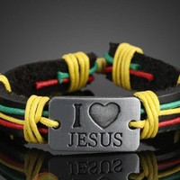 UNISEX MULTI COLOR Cool I Love Jesus Tribal Style Bracelet