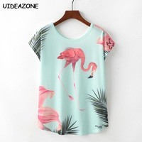 Women Flamingo t shirt Summer Tops For Women 2018 Harajuku tshirt Camiseta Feminina Femme Mujer Elegant Flamingo shirts