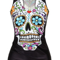 Sugar Skull Print New Women T-shirt 3D Printed Women's Clothing Digital Print Tank Top Women Clothing XS/S/M/L/XL = 1830080964