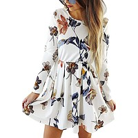 Casual Floral Print Long Sleeve Swing Pleated Skater A Line Mini Dress