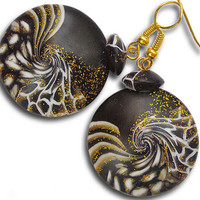 Black gold fashion earrings. Black earrings. Black gold earrings made from polymer clay. Evening jewelry.