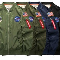 NASA MA1 Bomber Jacket Insignia USA FHip Hop Sport Windbreaker men Jacket Flag Spring Thin section Jacket size M-5XL
