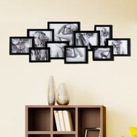 """Adeco PF0203 Decorative Black Wood Wall Hanging Collage Puzzle Picture Photo Frame, 10 Openings, Various Sizes-- Five 5""""x7"""", Two 6""""x8"""", Two 4""""x6"""" and one 8""""x10"""""""
