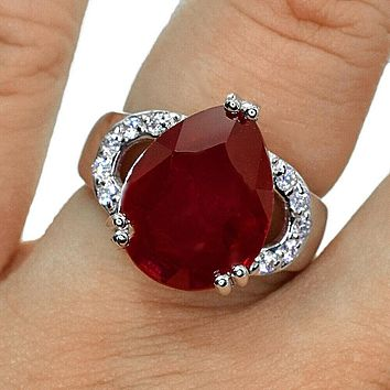 A Natural 8.9CT Pear Cut Red Ruby Engagement Ring