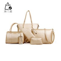 LINLANYAHOT 2016 Mother pack Leather Big package Solid 6 set bags 8 colors WHC