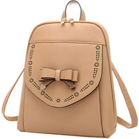 Khaki Bowknot PU Leather Backpack