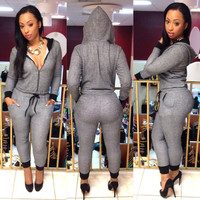 Grey Contrast Long Sleeves Hooded Jumpsuit