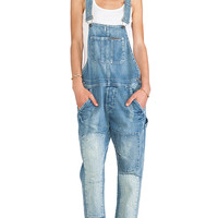True Religion Erin Crop Relaxed Overall in Blue