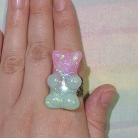 Gummy Bear Ring, Fairy Kei Ring, Sweet Lolita Ring, Rainbow Glitter Ring, Pastel Goth Ring, Magical Girl Ring