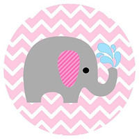 Baby Girl Elephant Stickers in Pink and Chevron- Label Party Favors for Baby Girl Shower or Birthday - Set of 50