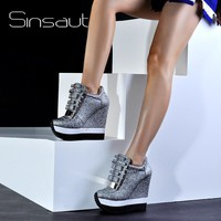 Sinsaut Shoes Women Height Increase Shoes Women Autumn Winter Pumps High Heels Trending Caramel Unique Design Sneakers