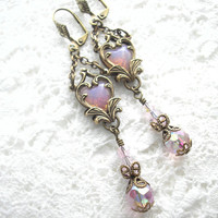 Captured Heart Earrings - Pink Glass Opals with Beaded Dangles Drops Antiqued Brass