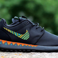 Custom Nike Roshe Run sneakers, black on black, tribal pattern, womens nike rosherun