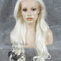 "26 inch Heat Safe Synthetic Lace Front ""Constance"" with Curly Texture in White"