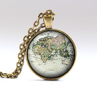 Old map jewelry Map pendant Antique map charm RO914