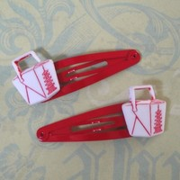 Chinese Takeout Hair Clips by RingsOfSaturn on Etsy