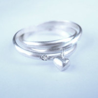Pablo Valencia-  Trinity Diamond and Heart Sterling Silver Set of 3 Rings