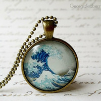 The Great Wave of Kanagawa, glass dome necklace, glass pendant, gift idea, hostess gift, party favors, key ring, Hokusai, Japanese Art
