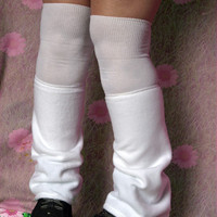 Japan Tokyo pop school uniform WHITE traditional gathered LOOSE SOCKS leg warmers