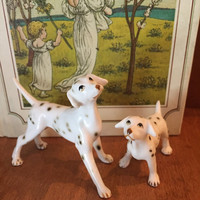 Vintage Bone China Miniature Dalmation Dogs Set Of 2 Japan Dalmation Dogs