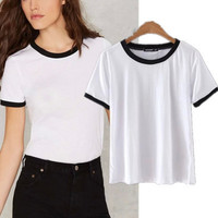 Popular Fashionable Summer Beach Holiday Cotton Round Necked Short Sleeve Casual Boho Top Shrit T-shirt T-shirt b2451