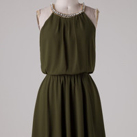 Olive Dress with Rhinestone Detail