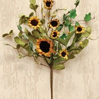 """Rustic Sunflower and Greens 12"""" Flower Spray"""