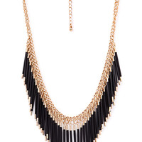 FOREVER 21 Beaded Fringe Chain Necklace Gold/Black One