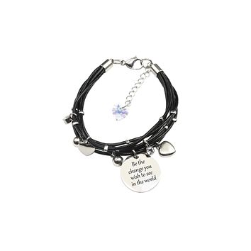 Genuine Leather Inspirational Bracelet with Crystals from Swarovski by Pink Box