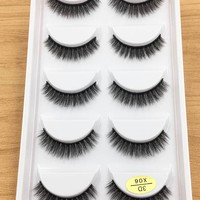 5 pairs Short Natural Mink False Eyelashes Cross Dense Handmade Cotton Stalk Eye Lashes Date Make-up Mink Fake Eyelashes