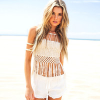 White Crochet Wrapped Chest Top with Fringe