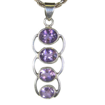 Large 90s Sterling Amethyst Pendant Necklace