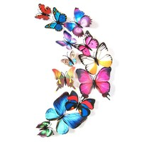 New Qualified Wall Stickers 12pcs Decal Wall Stickers Home Decorations 3D Butterfly Colorful Levert Dropship dig632
